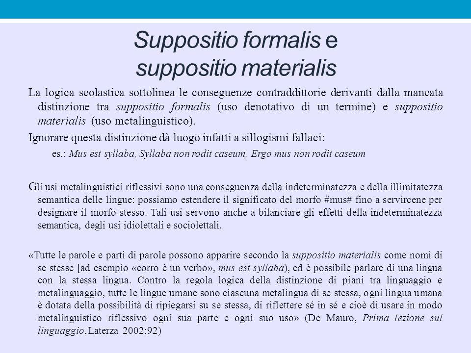 Suppositio formalis e suppositio materialis La logica scolastica sottolinea le conseguenze contraddittorie derivanti dalla mancata distinzione tra sup