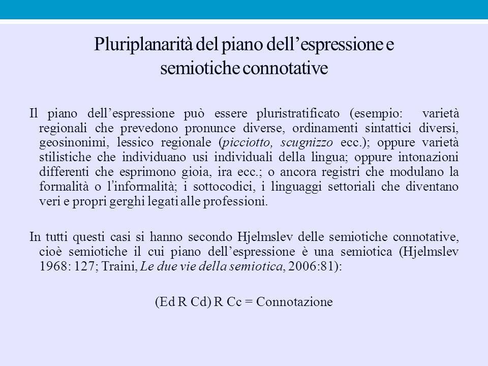 Pluriplanarità del piano dell'espressione e semiotiche connotative Il piano dell'espressione può essere pluristratificato (esempio: varietà regionali