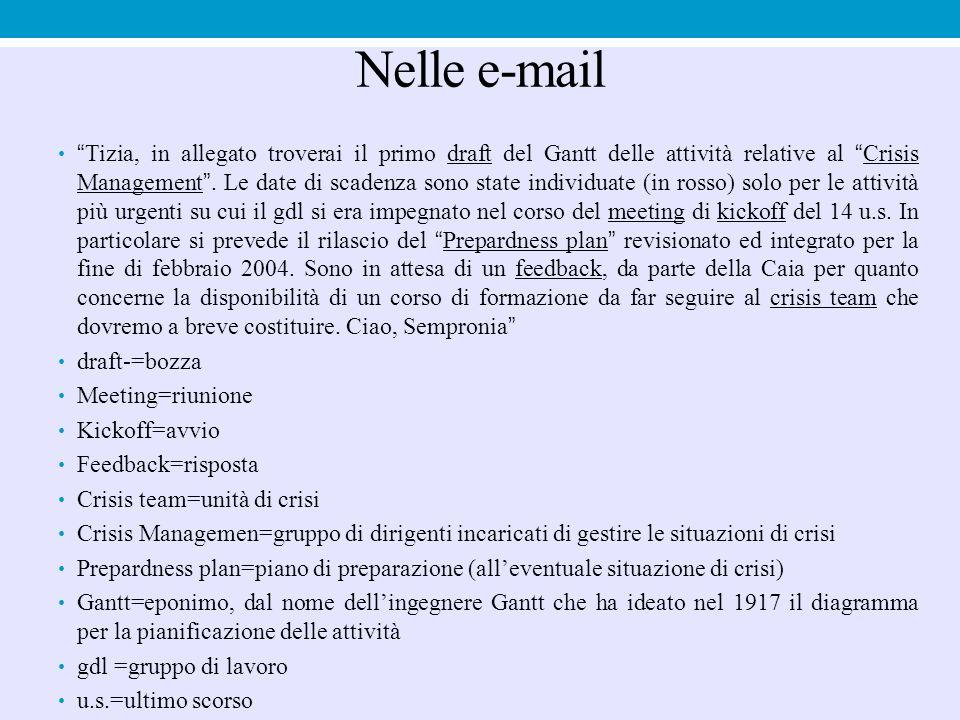 """Nelle e-mail """"Tizia, in allegato troverai il primo draft del Gantt delle attività relative al """"Crisis Management"""". Le date di scadenza sono state indi"""