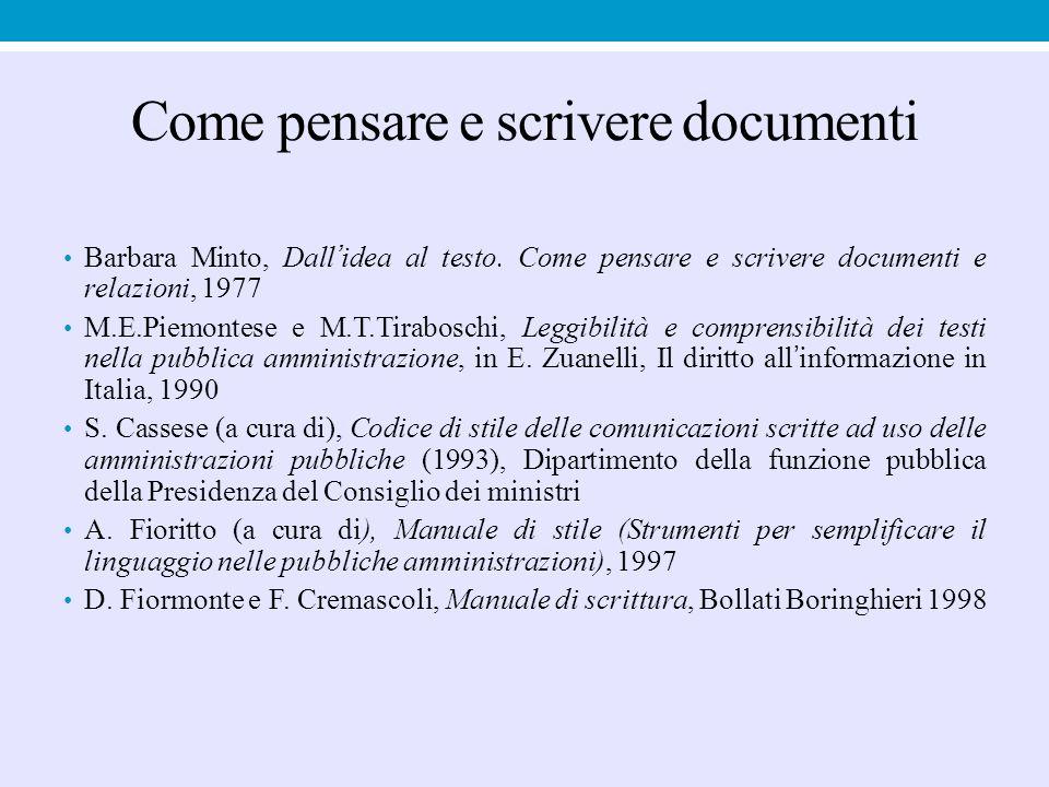 Come pensare e scrivere documenti Barbara Minto, Dall'idea al testo. Come pensare e scrivere documenti e relazioni, 1977 M.E.Piemontese e M.T.Tirabosc