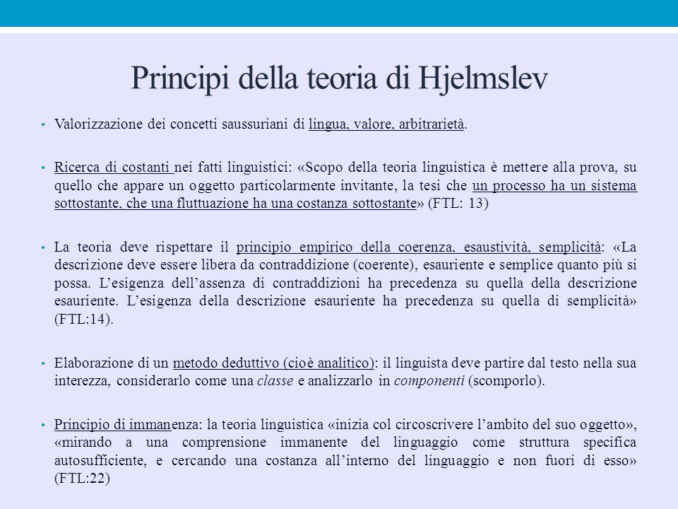 Principi della teoria di Hjelmslev Valorizzazione dei concetti saussuriani di lingua, valore, arbitrarietà. Ricerca di costanti nei fatti linguistici: