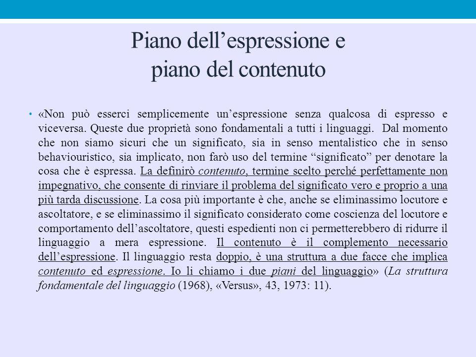 Piano dell'espressione e piano del contenuto «Non può esserci semplicemente un'espressione senza qualcosa di espresso e viceversa. Queste due propriet