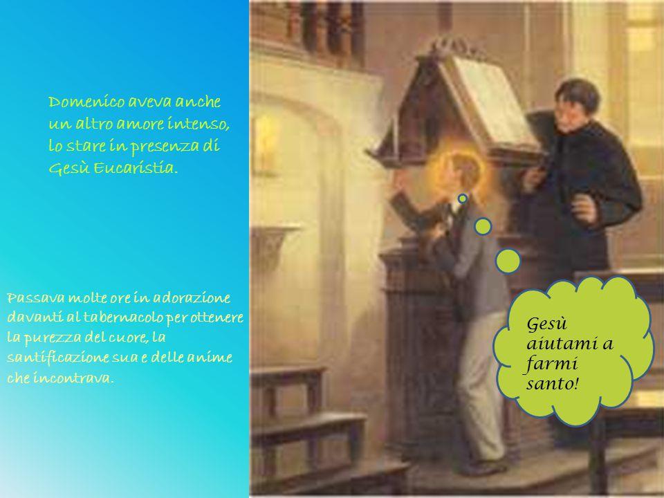 Domenico aveva anche un altro amore intenso, lo stare in presenza di Gesù Eucaristia. Gesù aiutami a farmi santo! Passava molte ore in adorazione dava