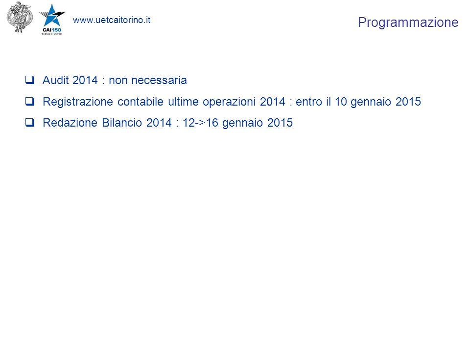 www.uetcaitorino.it  Audit 2014 : non necessaria  Registrazione contabile ultime operazioni 2014 : entro il 10 gennaio 2015  Redazione Bilancio 2014 : 12->16 gennaio 2015 Programmazione