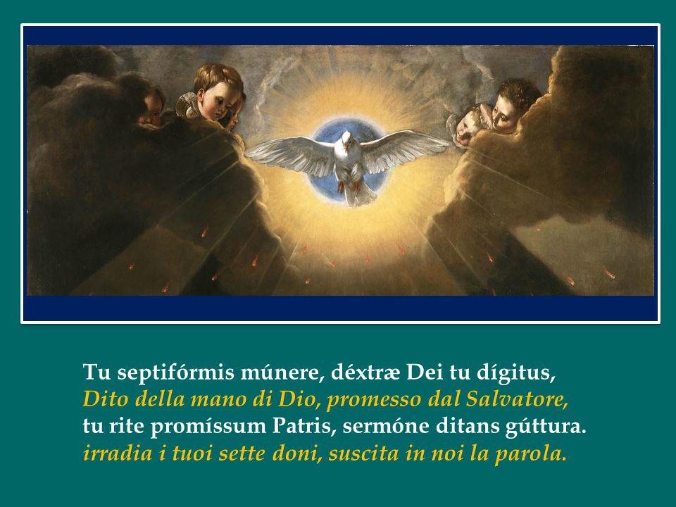 Tu septifórmis múnere, déxtræ Dei tu dígitus, Dito della mano di Dio, promesso dal Salvatore, tu rite promíssum Patris, sermóne ditans gúttura.