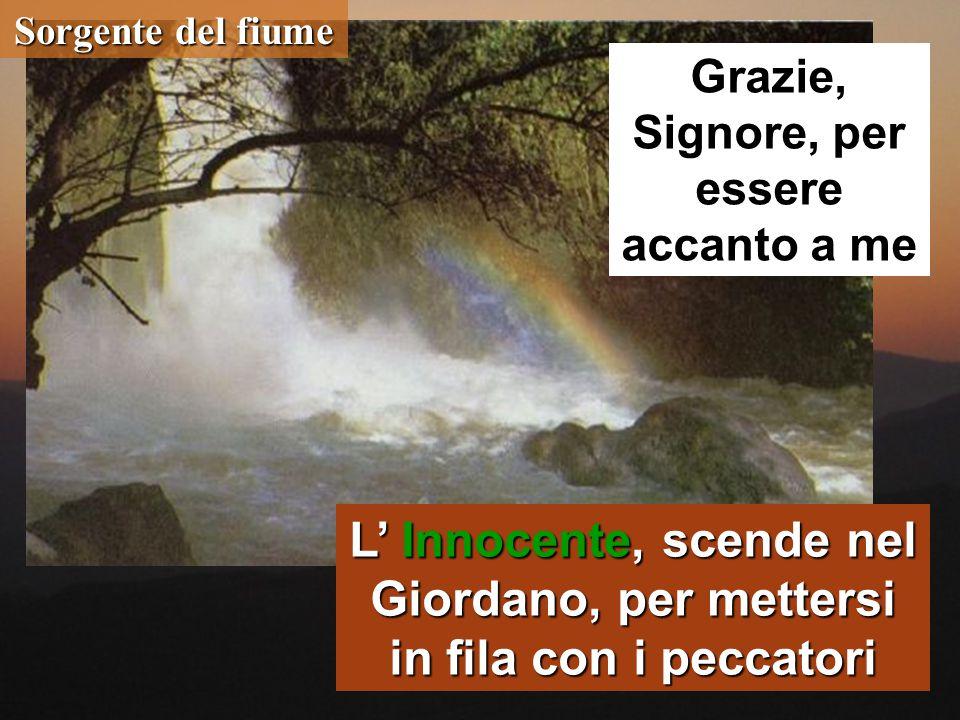 Sorgente del fiume L' Innocente, scende nel Giordano, per mettersi in fila con i peccatori Grazie, Signore, per essere accanto a me