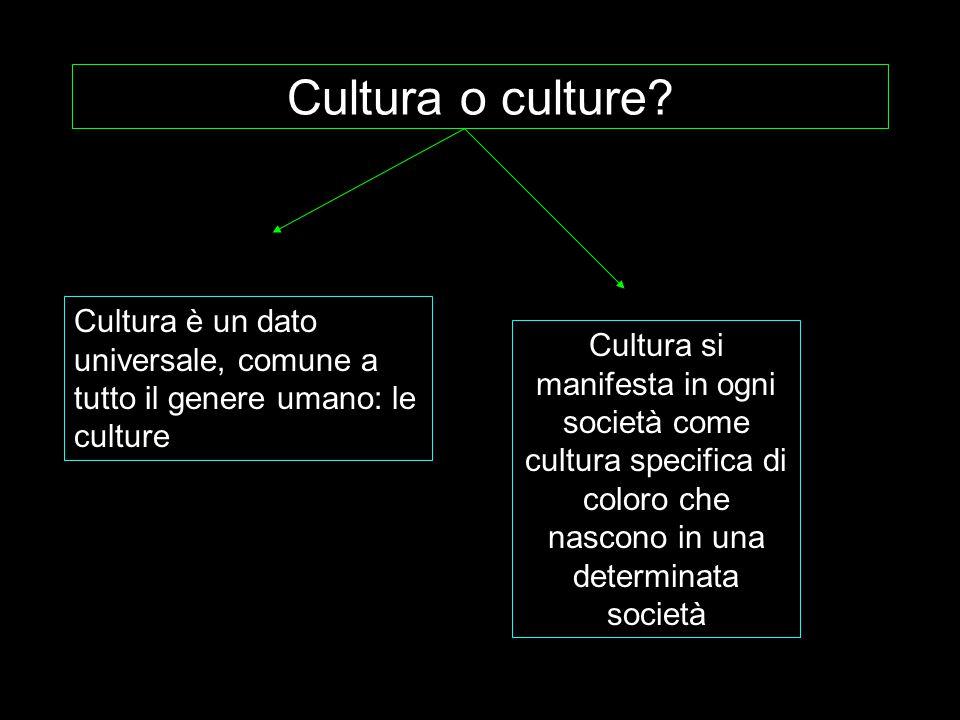 Cultura o culture? Cultura si manifesta in ogni società come cultura specifica di coloro che nascono in una determinata società Cultura è un dato univ