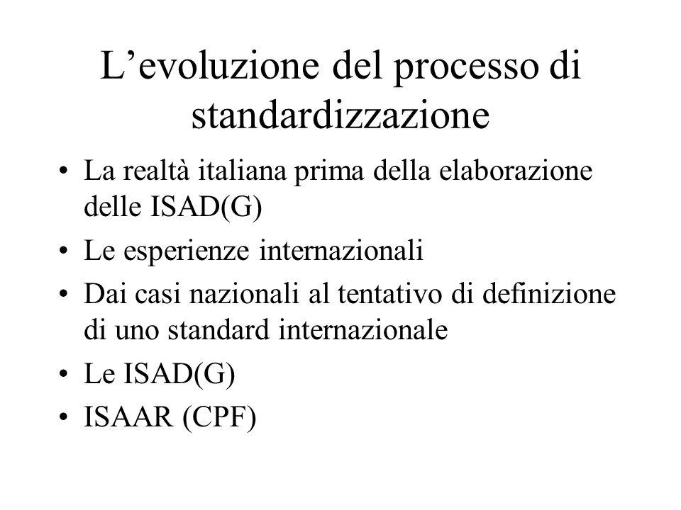 L'evoluzione del processo di standardizzazione La realtà italiana prima della elaborazione delle ISAD(G) Le esperienze internazionali Dai casi naziona
