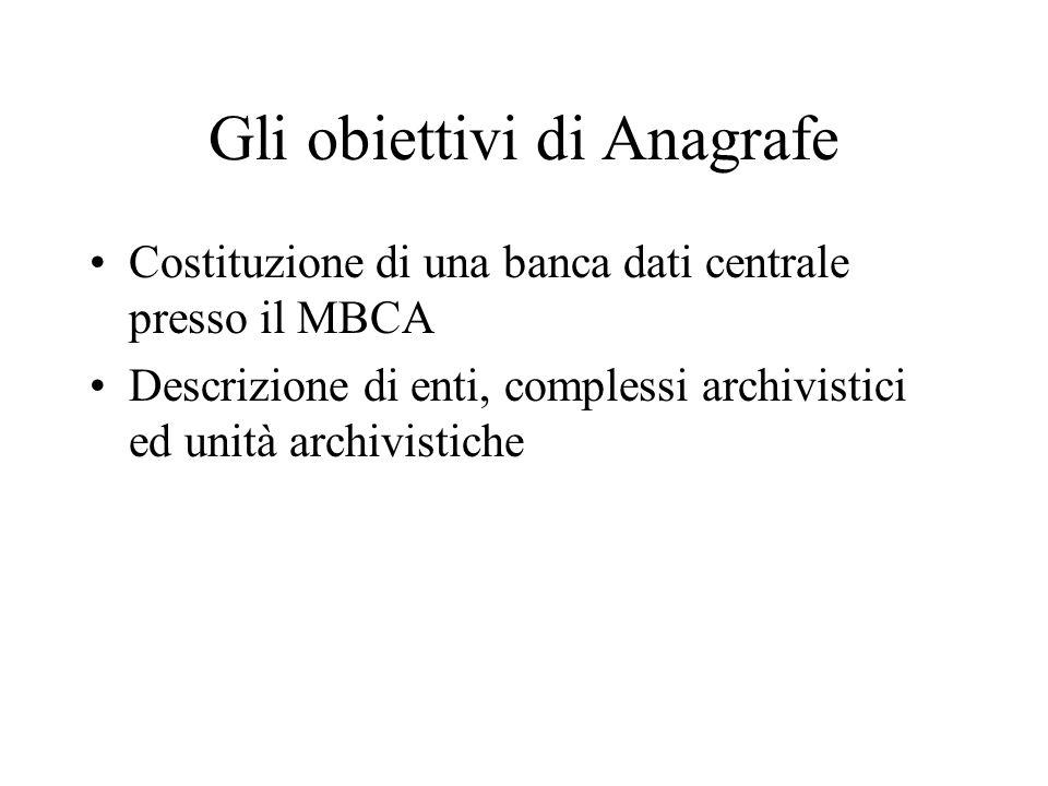 Gli obiettivi di Anagrafe Costituzione di una banca dati centrale presso il MBCA Descrizione di enti, complessi archivistici ed unità archivistiche