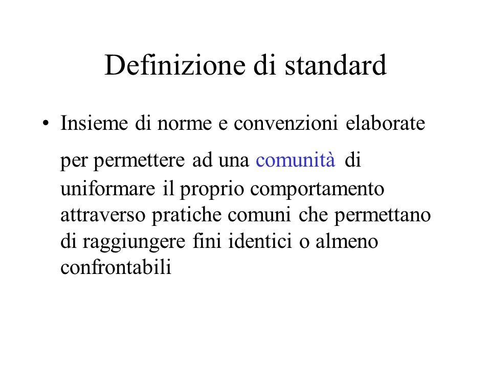 Definizione di standard Insieme di norme e convenzioni elaborate per permettere ad una comunità di uniformare il proprio comportamento attraverso prat