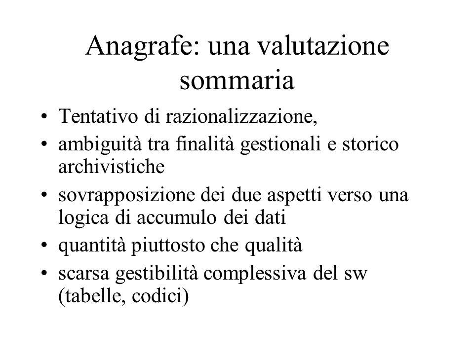 Anagrafe: una valutazione sommaria Tentativo di razionalizzazione, ambiguità tra finalità gestionali e storico archivistiche sovrapposizione dei due a