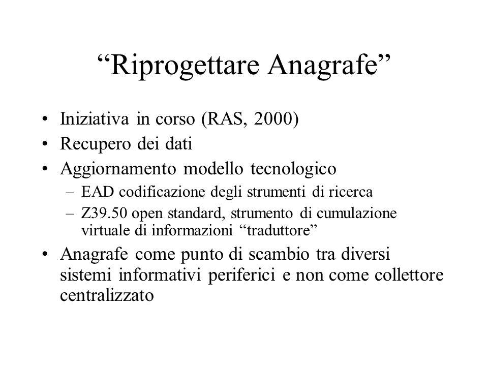 """""""Riprogettare Anagrafe"""" Iniziativa in corso (RAS, 2000) Recupero dei dati Aggiornamento modello tecnologico –EAD codificazione degli strumenti di rice"""