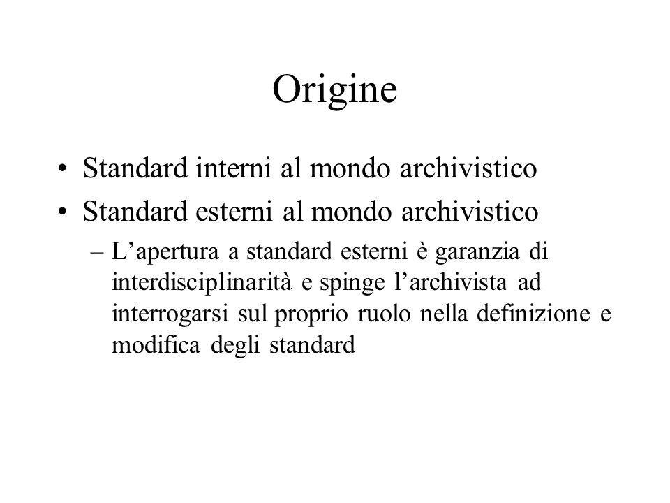 Origine Standard interni al mondo archivistico Standard esterni al mondo archivistico –L'apertura a standard esterni è garanzia di interdisciplinarità