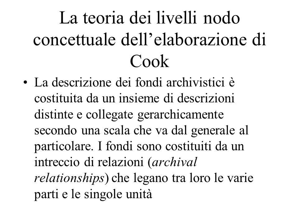 La teoria dei livelli nodo concettuale dell'elaborazione di Cook La descrizione dei fondi archivistici è costituita da un insieme di descrizioni disti