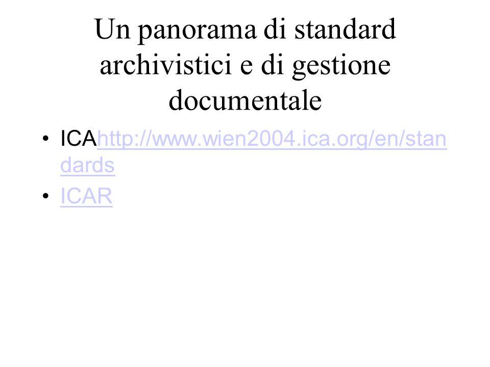 Un panorama di standard archivistici e di gestione documentale ICAhttp://www.wien2004.ica.org/en/stan dardshttp://www.wien2004.ica.org/en/stan dards I