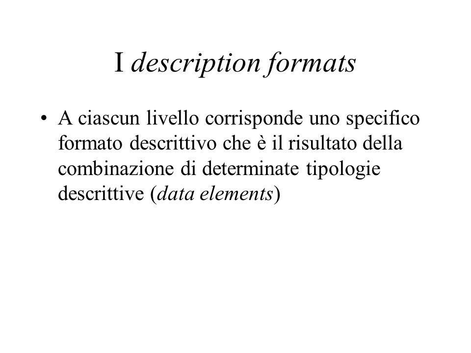 I description formats A ciascun livello corrisponde uno specifico formato descrittivo che è il risultato della combinazione di determinate tipologie d