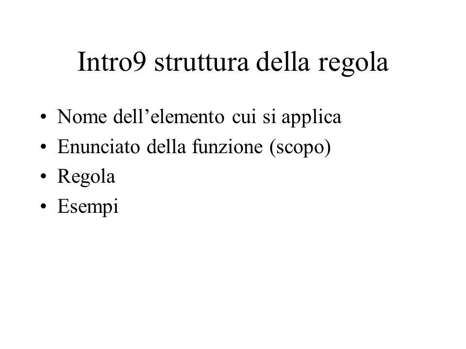 Intro9 struttura della regola Nome dell'elemento cui si applica Enunciato della funzione (scopo) Regola Esempi