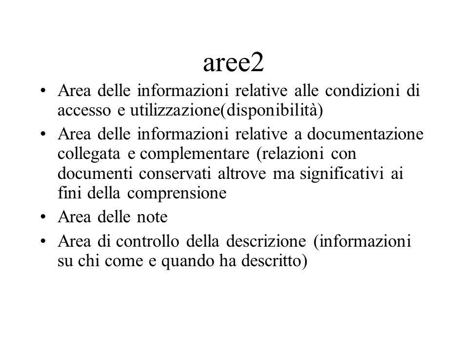 aree2 Area delle informazioni relative alle condizioni di accesso e utilizzazione(disponibilità) Area delle informazioni relative a documentazione col