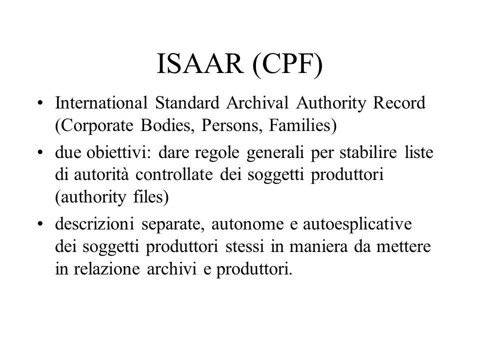 ISAAR (CPF) International Standard Archival Authority Record (Corporate Bodies, Persons, Families) due obiettivi: dare regole generali per stabilire l