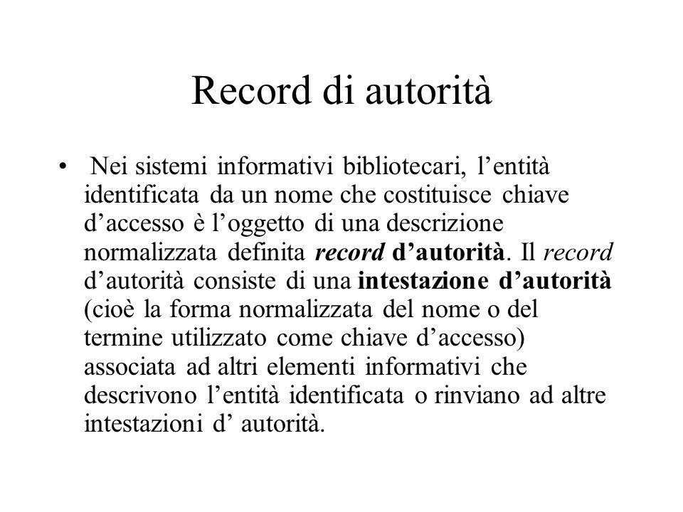 Record di autorità Nei sistemi informativi bibliotecari, l'entità identificata da un nome che costituisce chiave d'accesso è l'oggetto di una descrizi