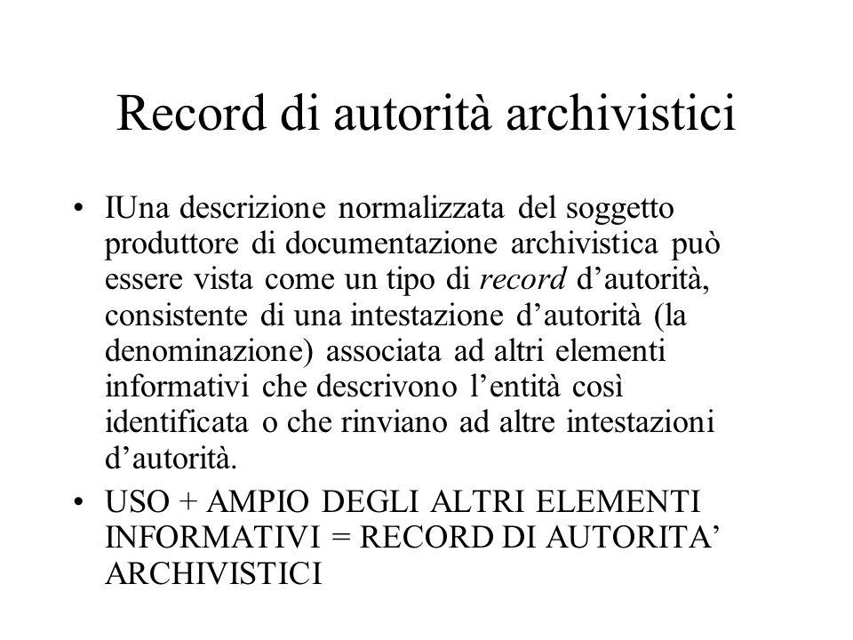 Record di autorità archivistici IUna descrizione normalizzata del soggetto produttore di documentazione archivistica può essere vista come un tipo di