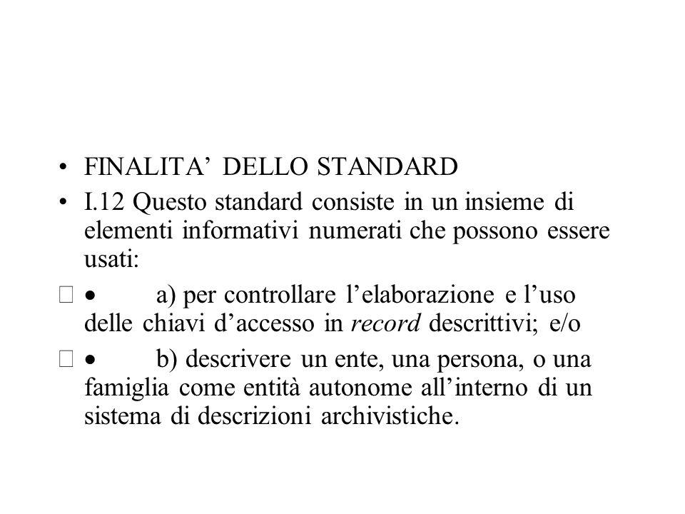TIPLOGIE DI INFORMAZIONI E MODALITA' D'USO I.13 Questo standard determina le tipologie di informazioni che dovrebbero essere comprese in un record d'autorità archivistico.