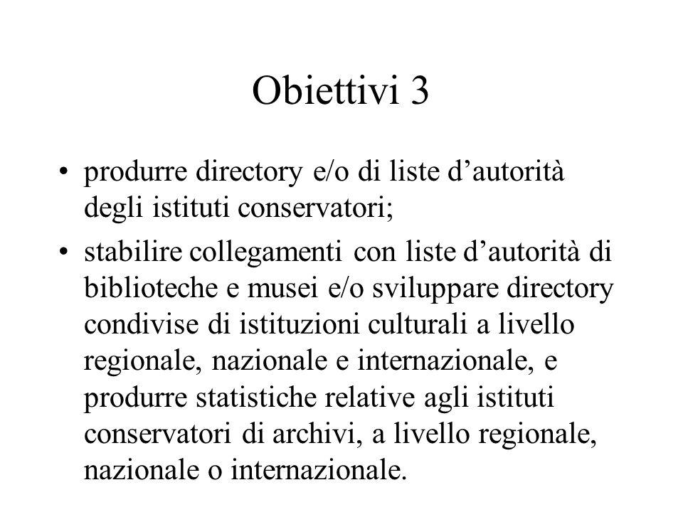 Obiettivi 3 produrre directory e/o di liste d'autorità degli istituti conservatori; stabilire collegamenti con liste d'autorità di biblioteche e musei