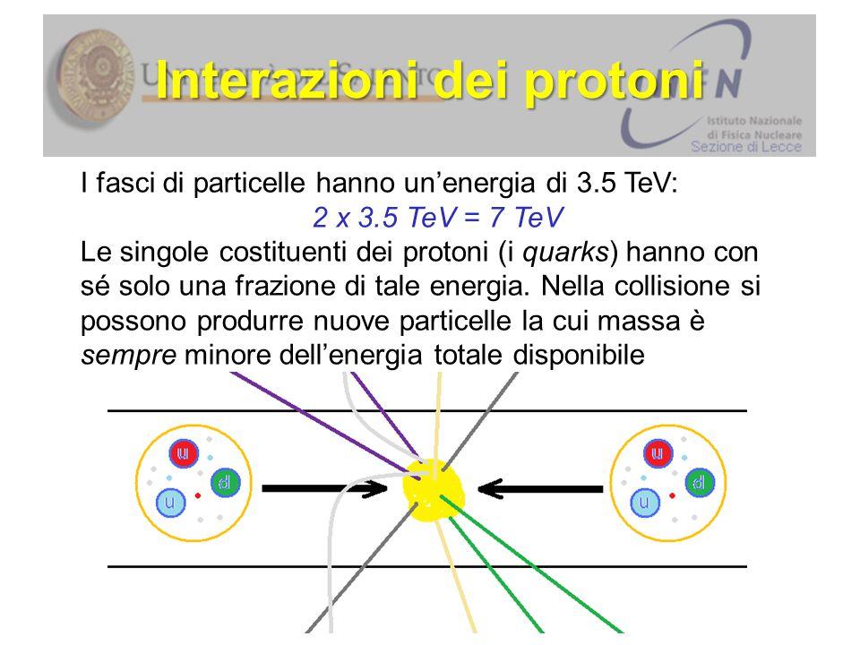I fasci di particelle hanno un'energia di 3.5 TeV: 2 x 3.5 TeV = 7 TeV Le singole costituenti dei protoni (i quarks) hanno con sé solo una frazione di tale energia.