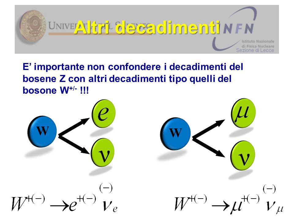 E' importante non confondere i decadimenti del bosene Z con altri decadimenti tipo quelli del bosone W +/- !!.