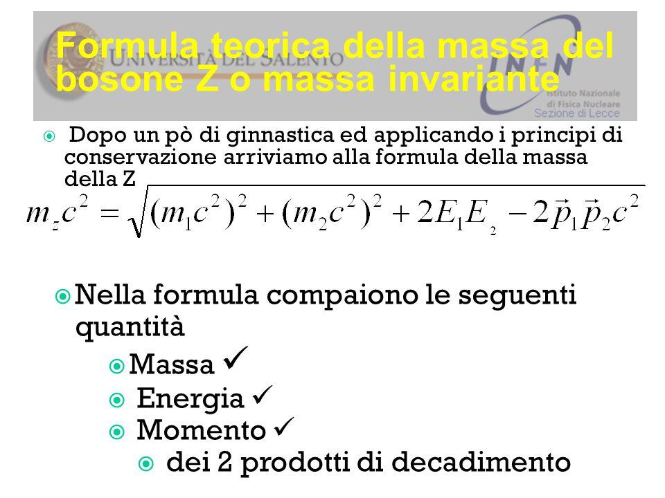 Formula teorica della massa del bosone Z o massa invariante  Dopo un pò di ginnastica ed applicando i principi di conservazione arriviamo alla formula della massa della Z  Nella formula compaiono le seguenti quantità  Massa  Energia  Momento  dei 2 prodotti di decadimento