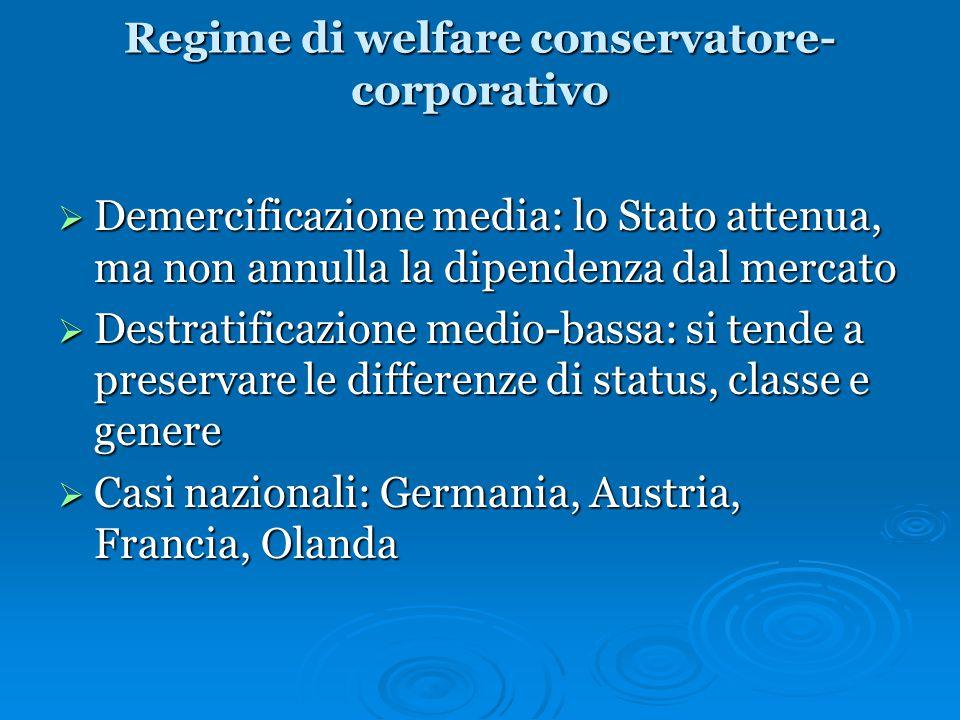 Regime di welfare conservatore- corporativo  Demercificazione media: lo Stato attenua, ma non annulla la dipendenza dal mercato  Destratificazione m