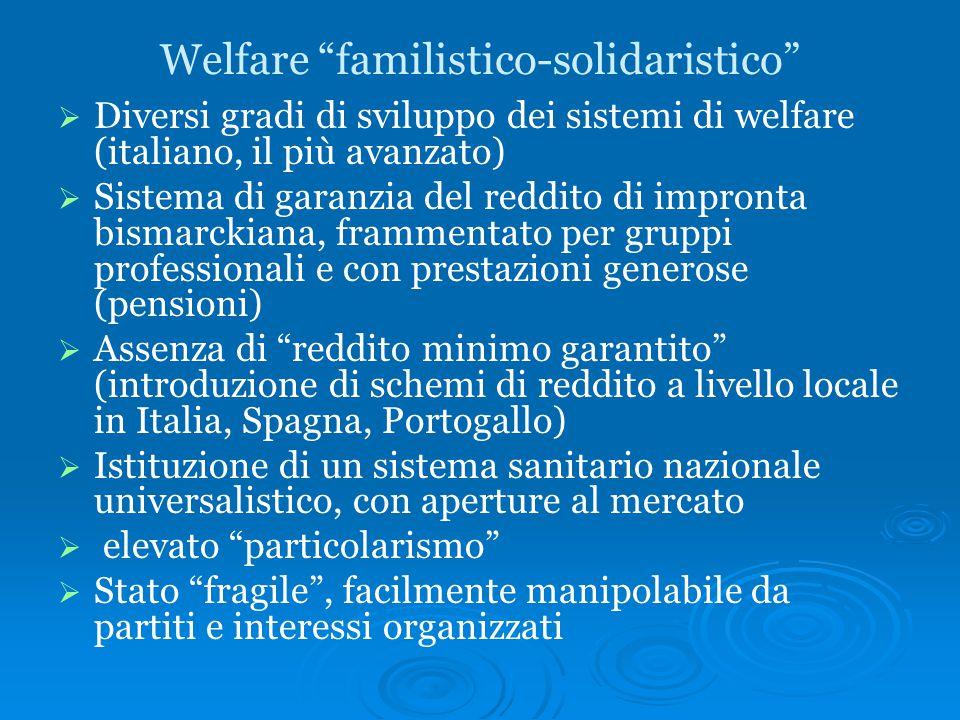 """Welfare """"familistico-solidaristico""""   Diversi gradi di sviluppo dei sistemi di welfare (italiano, il più avanzato)   Sistema di garanzia del reddi"""