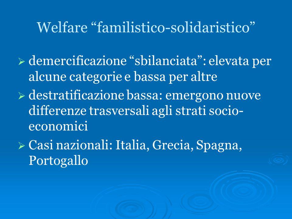 """Welfare """"familistico-solidaristico""""   demercificazione """"sbilanciata"""": elevata per alcune categorie e bassa per altre   destratificazione bassa: em"""