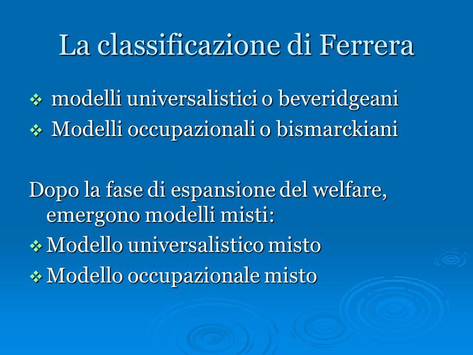 La classificazione di Ferrera  modelli universalistici o beveridgeani  Modelli occupazionali o bismarckiani Dopo la fase di espansione del welfare,