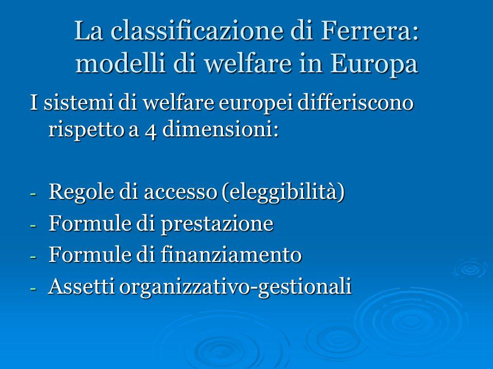 La classificazione di Ferrera: modelli di welfare in Europa I sistemi di welfare europei differiscono rispetto a 4 dimensioni: - Regole di accesso (el