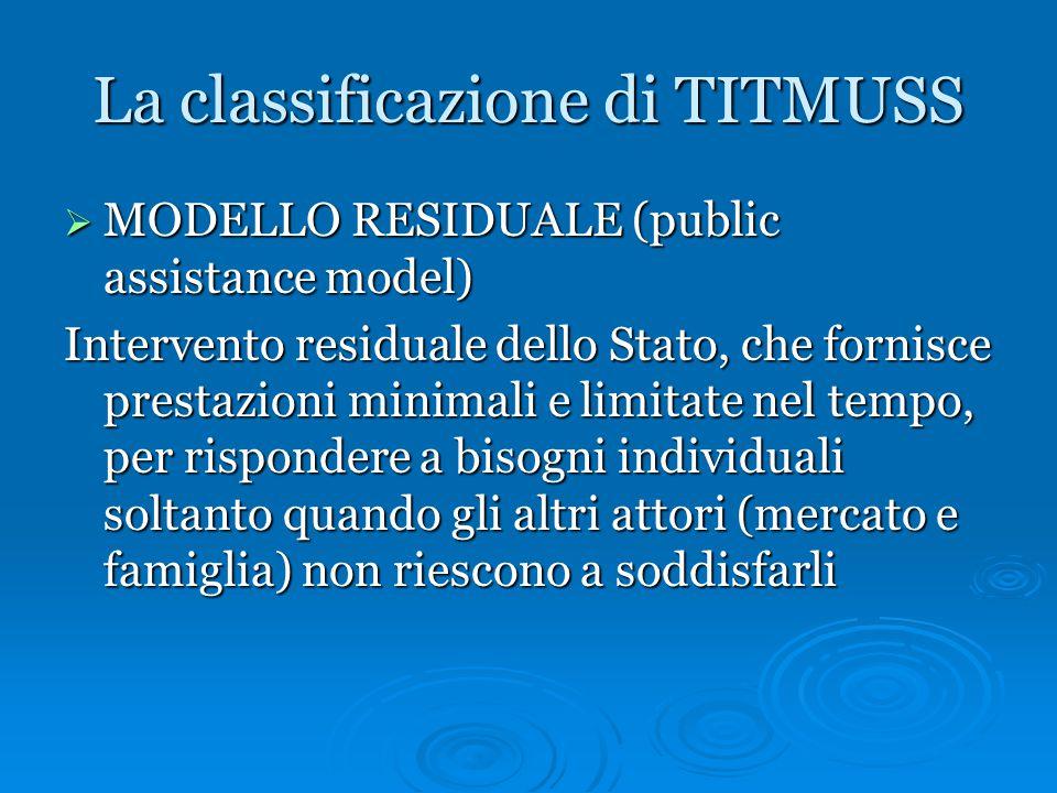 La classificazione di TITMUSS  MODELLO RESIDUALE (public assistance model) Intervento residuale dello Stato, che fornisce prestazioni minimali e limi