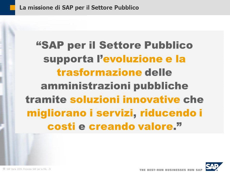  SAP Italia 2005, Proposta SAP per la PAL - 9 La missione di SAP per il Settore Pubblico SAP per il Settore Pubblico supporta l'evoluzione e la trasformazione delle amministrazioni pubbliche tramite soluzioni innovative che migliorano i servizi, riducendo i costi e creando valore.