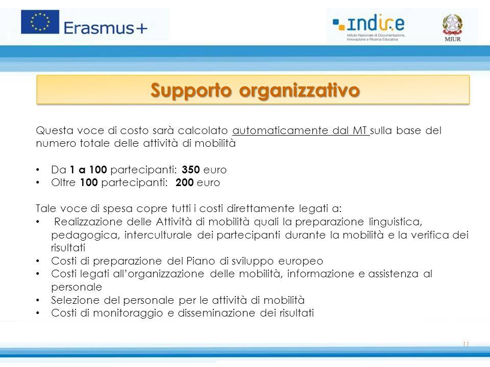 11 Supporto organizzativo Supporto organizzativo Questa voce di costo sarà calcolato automaticamente dal MT sulla base del numero totale delle attivit