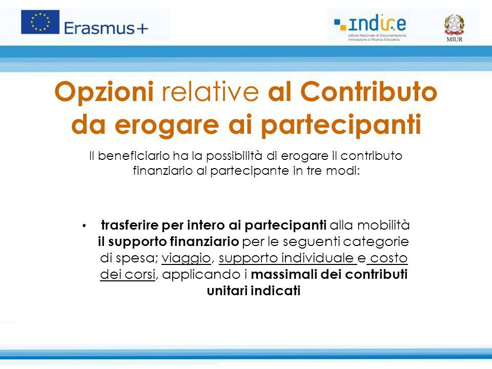 Opzioni relative al Contributo da erogare ai partecipanti Il beneficiario ha la possibilità di erogare il contributo finanziario al partecipante in tr