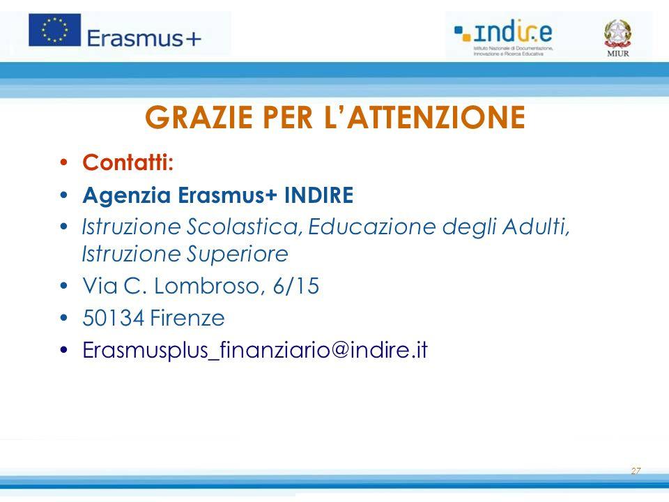 GRAZIE PER L'ATTENZIONE Contatti: Agenzia Erasmus+ INDIRE Istruzione Scolastica, Educazione degli Adulti, Istruzione Superiore Via C. Lombroso, 6/15 5