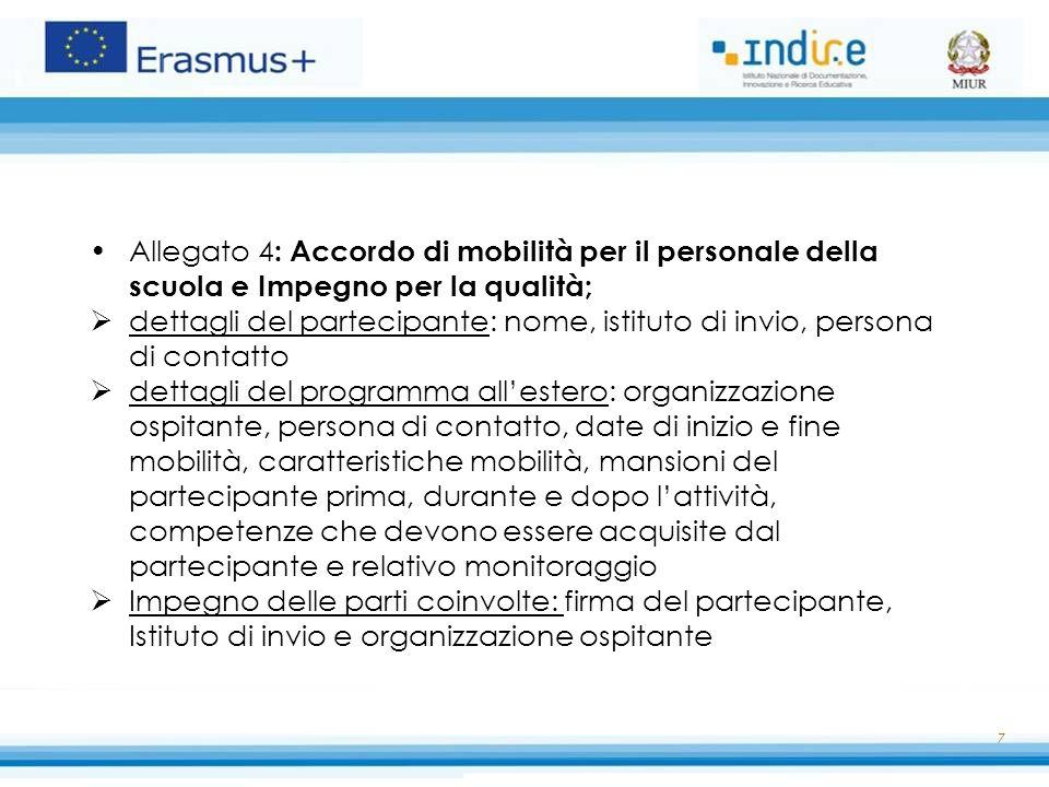 Allegato 4 : Accordo di mobilità per il personale della scuola e Impegno per la qualità;  dettagli del partecipante: nome, istituto di invio, persona