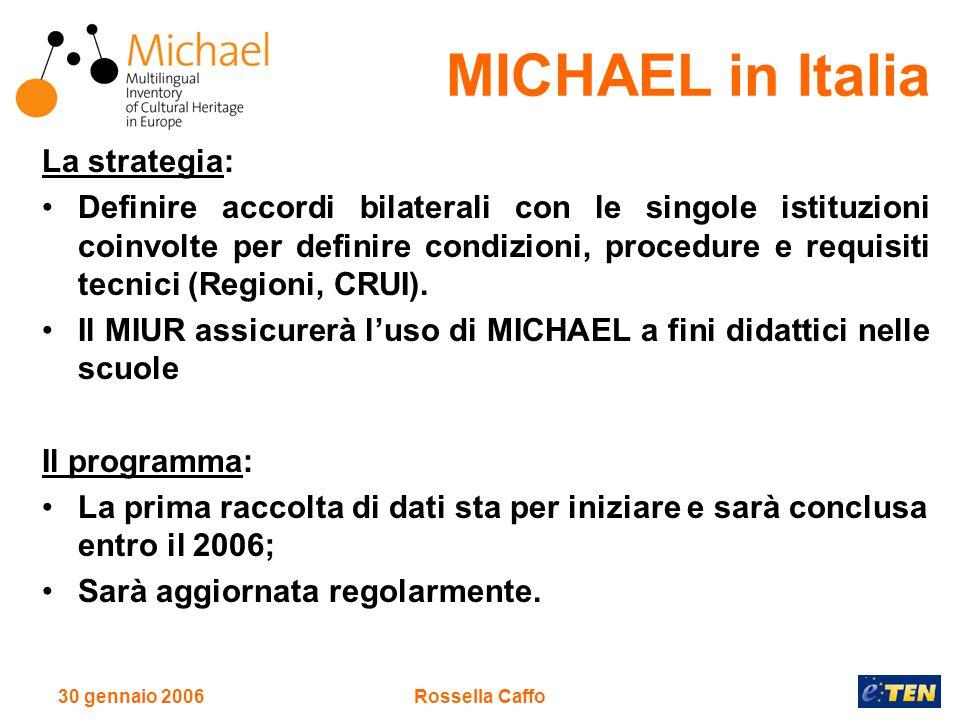 30 gennaio 2006Rossella Caffo La strategia: Definire accordi bilaterali con le singole istituzioni coinvolte per definire condizioni, procedure e requisiti tecnici (Regioni, CRUI).