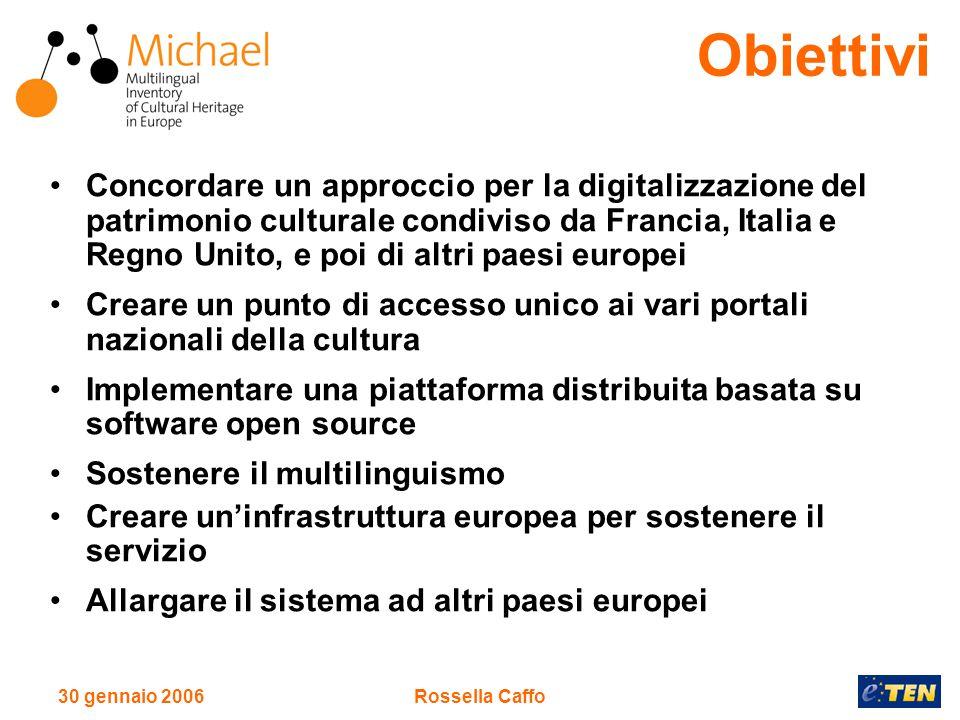 30 gennaio 2006Rossella Caffo A breve: Il portale europeo di MICHAEL permetterà di condurre ricerche su tutti i data base nazionali allo stesso tempo.
