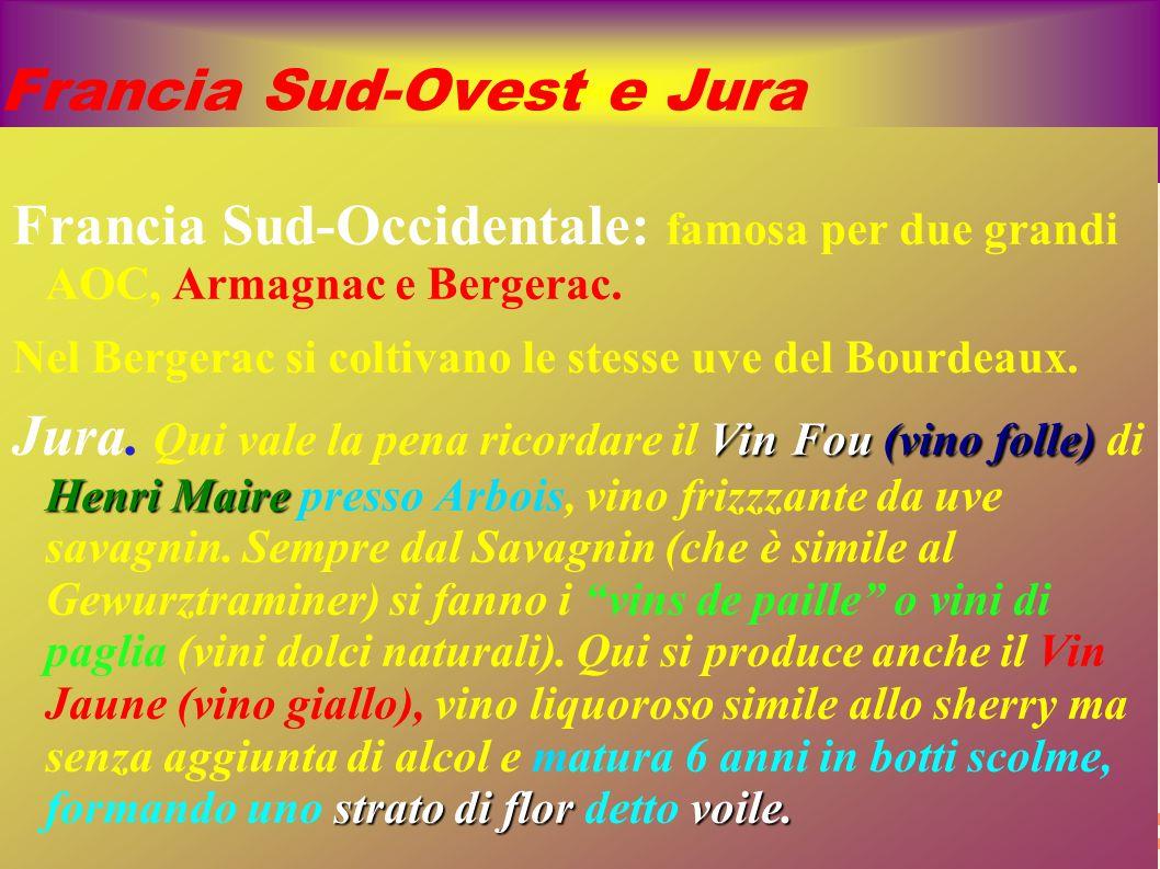 Francia Sud-Ovest e Jura Francia Sud-Occidentale: famosa per due grandi AOC, Armagnac e Bergerac. Nel Bergerac si coltivano le stesse uve del Bourdeau