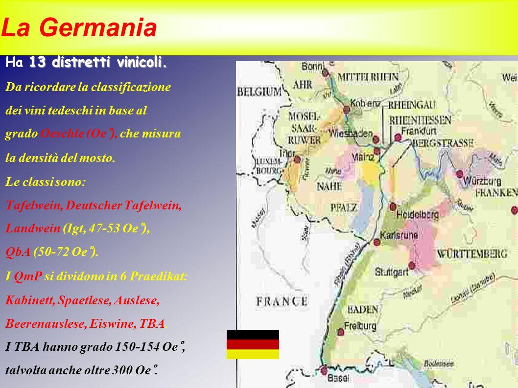 La Germania 13 distretti vinicoli. Ha 13 distretti vinicoli. Da ricordare la classificazione dei vini tedeschi in base al grado Oeschle (Oe°), che mis