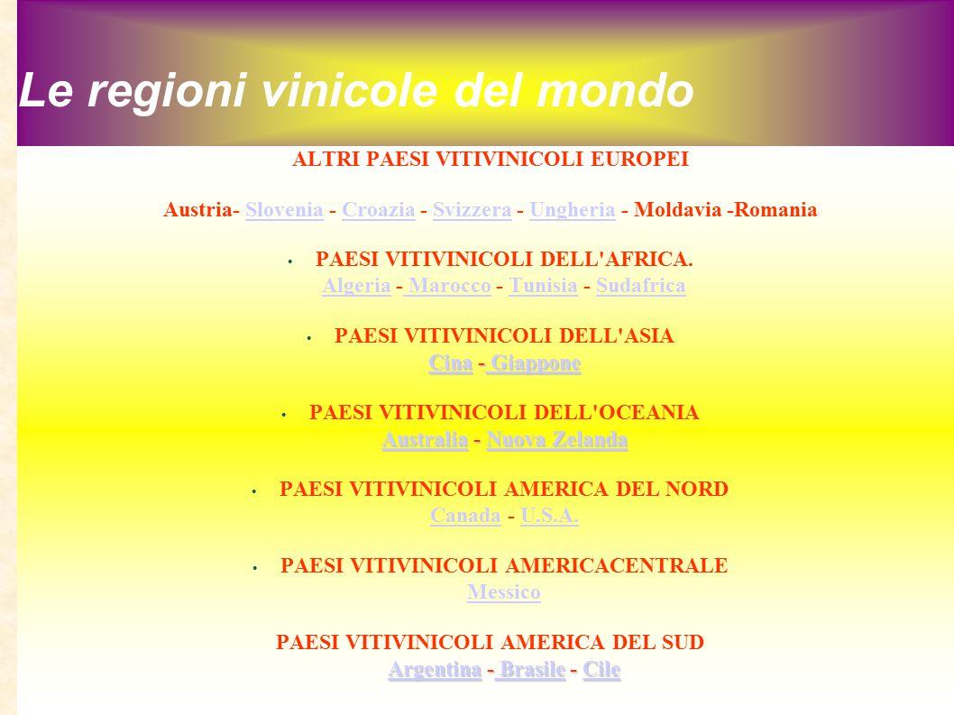 Le regioni vinicole del mondo ALTRI PAESI VITIVINICOLI EUROPEI Austria- Slovenia - Croazia - Svizzera - Ungheria - Moldavia -RomaniaSloveniaCroaziaSvi