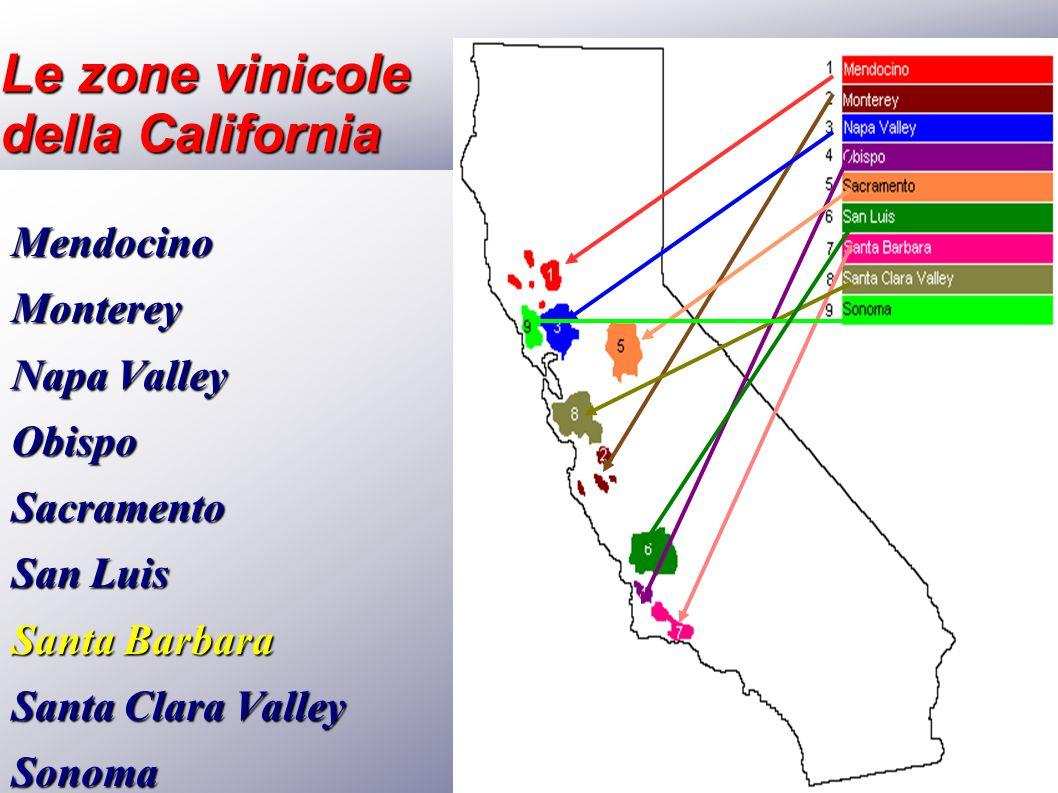 Le zone vinicole della California MendocinoMonterey Napa Valley ObispoSacramento San Luis Santa Barbara Santa Clara Valley Sonoma