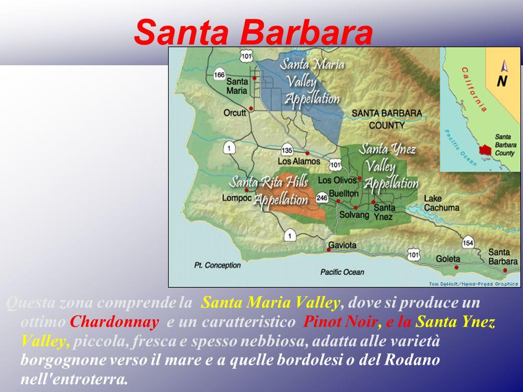 Santa Barbara Questa zona comprende la Santa Maria Valley, dove si produce un ottimo Chardonnay e un caratteristico Pinot Noir, e la Santa Ynez Valley