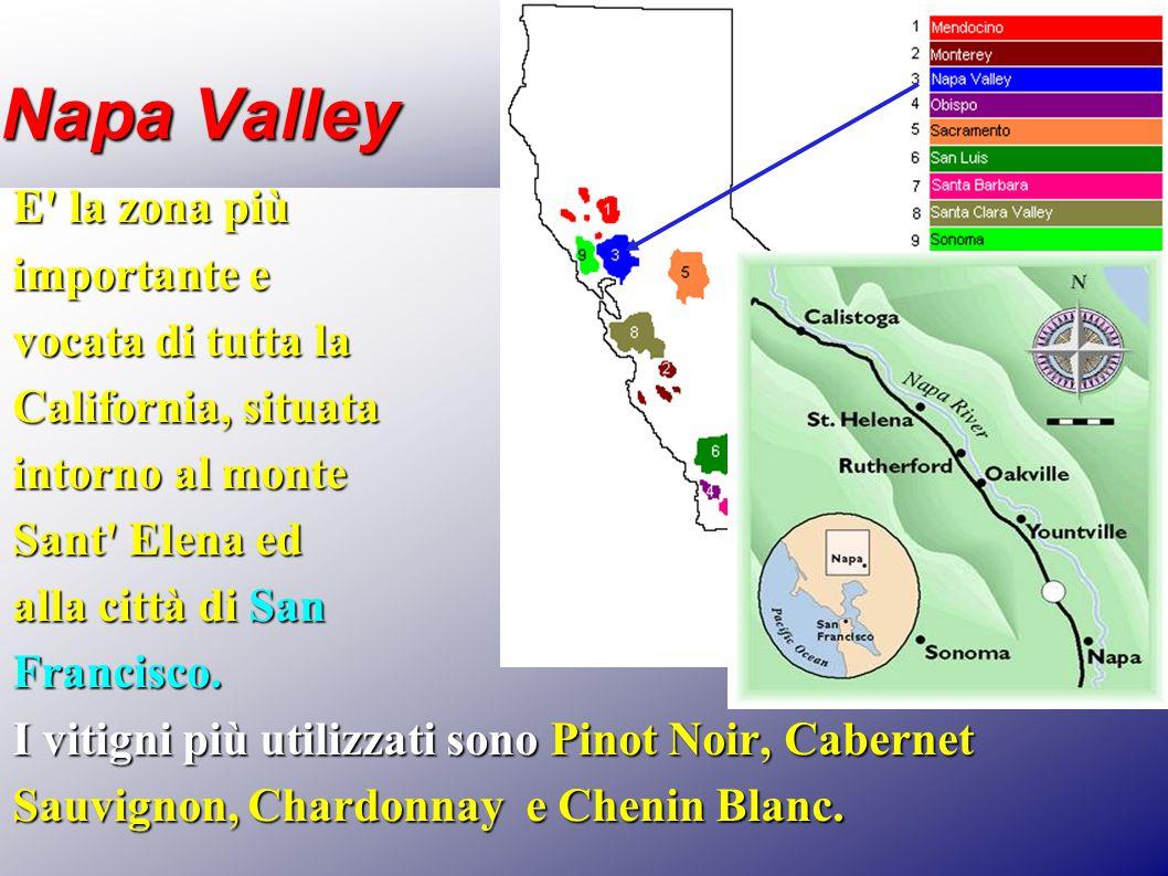 Napa Valley E' la zona più importante e vocata di tutta la California, situata intorno al monte Sant' Elena ed alla città di San Francisco. I vitigni