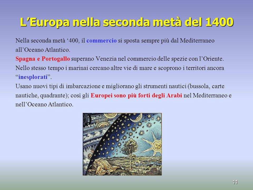 L'Europa nella seconda metà del 1400 Nella seconda metà '400, il commercio si sposta sempre più dal Mediterraneo all'Oceano Atlantico. Spagna e Portog